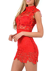 Women's Club Sexy Sheath Lace Dress,Solid Stand Mini Sleeveless Polyester Nylon Summer Low Rise Micro-elastic Translucent