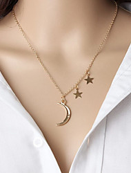 Fashion Romantic Metal Moon Star Pendant Combination Necklace Chain Short Necklace