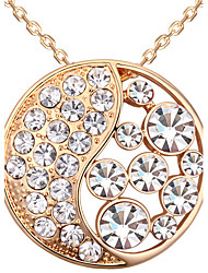 Women's Pendant Necklaces Crystal Round Chrome Circular Fashion Jewelry For Gift Valentine 1pc