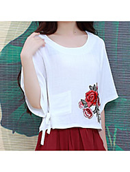 Spring and summer new Chinese style embroidery backing shirt loose cotton T-shirt shirt