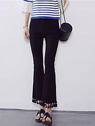 signent la mode pompon ourlet sauvage de mode de style européen a été un pantalon mince pantalons évasés élève