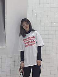 verdadeiro tiro estilo harajuku fã-coreano letras bf maré longa seção de solta t-shirt de manga curta feminina selvagem xia Xuesheng