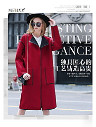 Women's Casual/Daily Simple Fall Trench Coat,Solid Shawl Lapel ¾ Sleeve Long Wool