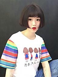 # 6061 Южная Корея подписать ulzzang с короткими рукавами сострадательным цвета заклинание полосатые летние платья женщин женский стиль