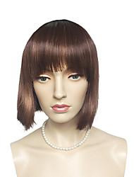 bob perruque brune d'or avec une frange droite soignée coiffure courte pour les femmes parties
