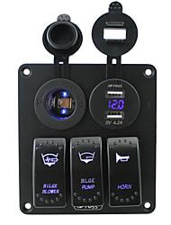bleu iztoss conduit 3 bandes panneau de commutateur à bascule avec 5pin bleu conduit prise de courant double 4.2a kits câblage USB et