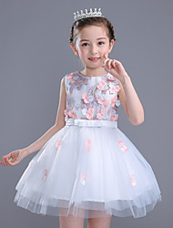 Ball Gown Short / Mini Flower Girl Dress - Cotton Satin Tulle Sleeveless Jewel with Appliques Bow(s)