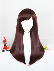 Medium Long Straight Overwatch D.VA Brown Cosplay Wigs Synthetic 24inch Anime Wig CS-302A