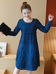 Sign 2017 spring new Korean version of casual large size women was thin long-sleeved denim dress A word