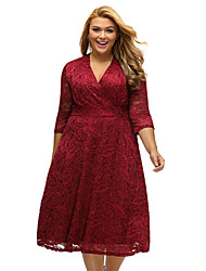 Women's Burgundy Plus Size Surplice Lace Formal Skater Dress