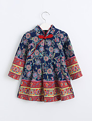 Girl's Casual/Daily Print Dress,Cotton Spring Fall Long Sleeve