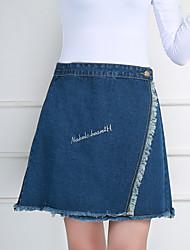 Waist denim skirt Korean version of spring and summer skirt A word skirt slit edges Slim was thin skirts skirt