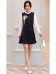 Sign 2017 spring new female Korean long-sleeved printed fashion ladies OL Slim was thin dress