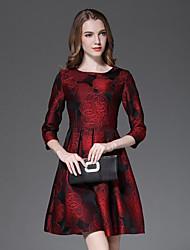 Feminino Rodado Vestido,Casual Sofisticado Bordado Decote Redondo Mini Manga ¾ Vermelho Algodão Primavera / Outono Cintura Média