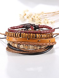 5pcs/set Punk Men's Bracelet PU Leather Bracelet Adjustable Beads Multilayer for Men Fashion Jewelry