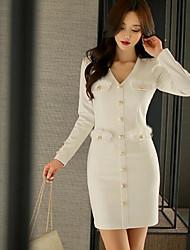 Spot 2017 spring models Slim package hip fashion white long-sleeved V-neck dress clinch plush