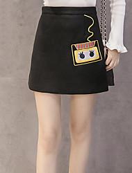 versão coreana do novo saias de lã inverno saia de cintura alta grandes estaleiros feminino de lã bordados pacote de hip saia uma palavra