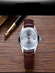 Для пары Модные часы Кварцевый швейцарцы Оригинальный рисунок Кожа Группа Повседневная Черный Коричневый