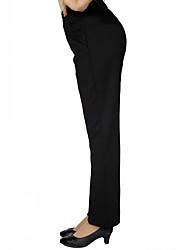 Feminino Simples Cintura Alta Inelástico Chinos Calças,Reto Cor Única,Patchwork