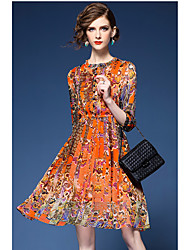 New Slim waist long-sleeved floral print chiffon dress women