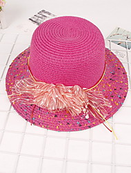 Femme Rétro Mignon Soirée Travail Décontracté Paillette Chapeau Melon / Cloche Chapeau de Paille Chapeau de soleil,Couleur Pleine