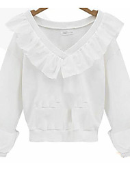 Europa 2017 new spring flounced v-neck long-sleeved t-shirt schlank war dünnes fashion bottoming shirt