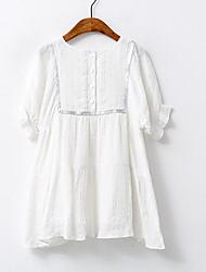 Girl's Solid Dress,Cotton Summer ½ Length Sleeve