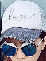 Love Letters Sunscreen Shading Solid Mesh Patchwork Beach Floppy Hat Sun Hat Baseball Cap