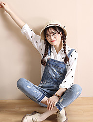 Sign 2017 new light-colored loose overalls female pantyhose hole jeans tide Korean version of Sling