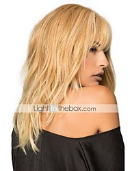Textured Layers Long Natural Blonde Human Hair Wig Straight Capless Cap Wig For Young Women Heat Resistant 2017