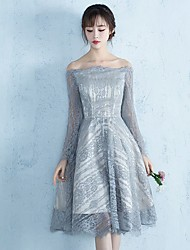Knee-length Lace Elegant Bridesmaid Dress - A-line Bateau with Lace