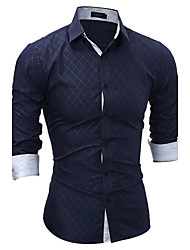 Men's Sports Going out Simple Spring Fall Shirt,Plaid Classic Collar Long Sleeves Cotton
