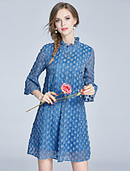 EWUS/Women's Going out Casual/Daily Beach Street chic Sophisticated A Line DressSolid Embroidered Stand Above Knee  Sleeve Cotton Polyester