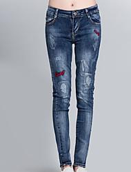 Signe fig spring nouvelle version coréenne de slim était fin bambou pantalons brodés pieds pantalons marée cowgirl