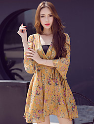 Women's Going out Party A Line Dress,Floral V Neck Above Knee Long Sleeve Polyester Summer High Rise Micro-elastic Thin