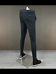 Masculino Simples Cintura Média Com Elástico Chinos Calças,Reto Cor Única,Chifon