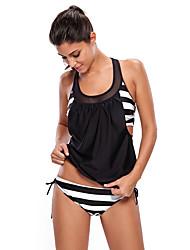 Women's Sporty Bandeau Tankini,Lace Up Nylon Spandex