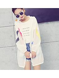 signe été femme vêtements crème solaire 2017 nouvelle veste ultra-mince à manches longues et longues sections uv impression femmes de