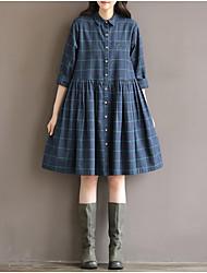 Damen Skater Kleid-Lässig/Alltäglich Einfach Druck Hemdkragen Knielang ½ Länge Ärmel Baumwolle Frühling Sommer Hohe Hüfthöhe