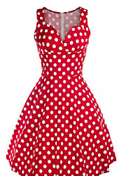 Women's Going out Casual/Daily Party A Line Sheath Dress,Polka Dot Asymmetrical Above Knee Sleeveless Rayon Spring Summer Mid Rise