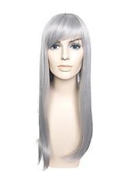 capless longue perruque grise perruque costume perruque droite pour les femmes avec une frange