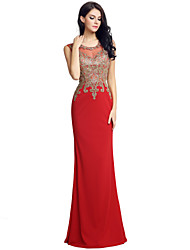 Mermaid / Trumpet Jewel Neck Floor Length Velvet Formal Evening Dress with Embroidery