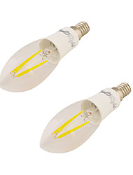 4W E14 LED Kerzen-Glühbirnen C37 4 COB 350 lm Warmes Weiß V 2 Stück