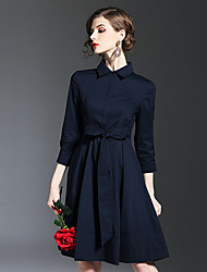 Women's Casual/Daily Sophisticated A Line Dress,Floral Shirt Collar Above Knee Others All Seasons Mid Rise Inelastic Medium