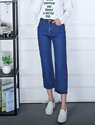 17 new spring jeans female wide leg pants nine points was thin waist big yards straight jeans casual wave of blue