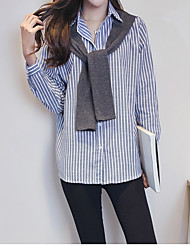 Women's Casual/Daily Simple Shirt,Striped Stand Long Sleeve Rayon