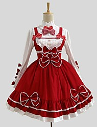 One-Piece/Dress Blouse/Shirt Rococo Cosplay Lolita Dress Red Solid Long Sleeve Knee-length Shirt Dress For Cotton