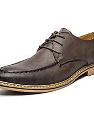 Masculino-Sapatos De Casamento-Conforto Sapatos formais-Rasteiro-Preto Amarelo Khaki-Microfibra-Casamento Escritório & Trabalho Casual