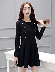 Sign long-sleeved dress spring 2017 women's Slim was thin waist black skirt little black dress