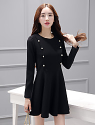 Sinal de mangas compridas primavera vestido 2017 mulheres&# 39; s magro era cintura fina saia preta pouco vestido preto
